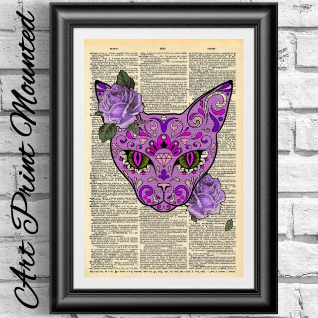 Art print original antique book page MOUNTED Sugar Skull Purple Cat Gothic art