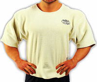 Cream Towelling Bodybuilding Clothing Workout Top L-137