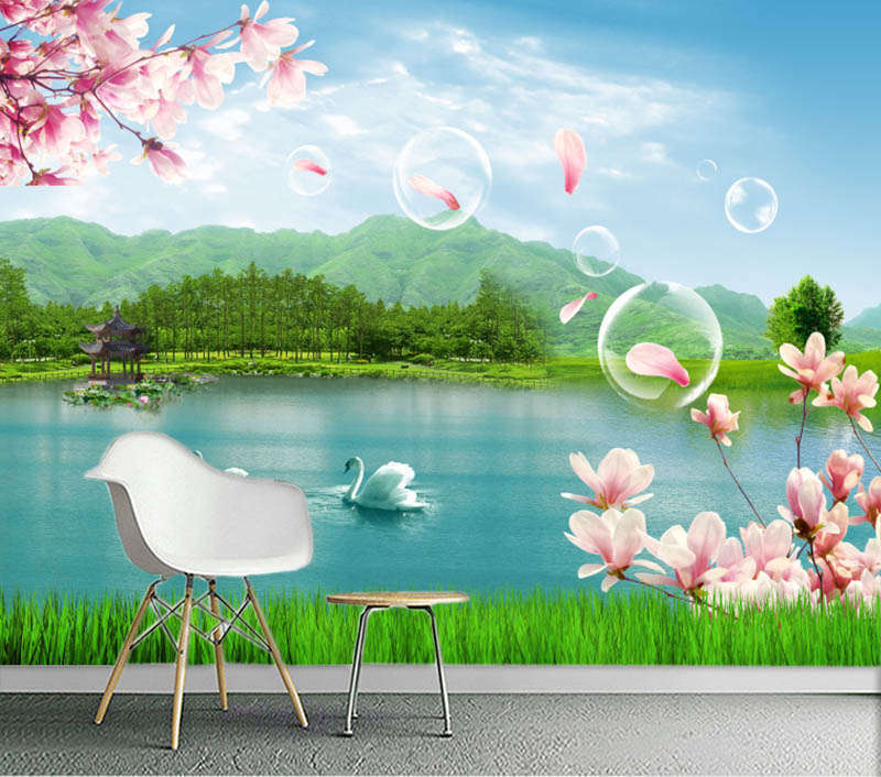 Charming Marked Lake 3D Full Wall Mural Photo Wallpaper Printing Home Kids Decor