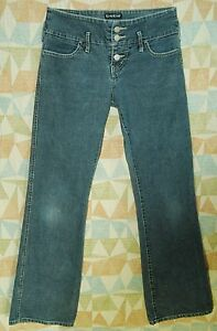 Exposed-BUTTON-FLY-Wide-Waistband-Indigo-Wash-FLARE-Low-Rise-BEBE-Jeans-27