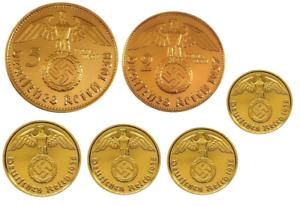 24k Gold Plated German Coins Including Siliver 1936-1939 Set of 6