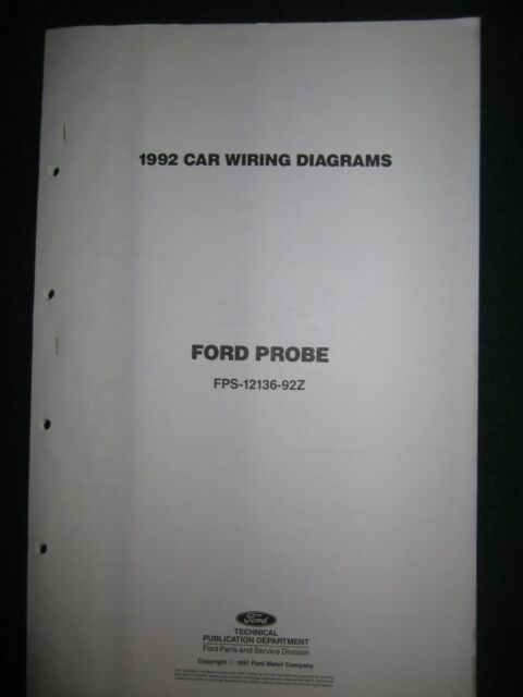 1992 Ford Probe Electrical Wiring Diagram Manual Schematic Sheets Oem