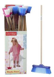 CHILDRENS-KIDS-TOY-PLAY-BROOM-brush-with-wooden-handle-55cm-PINK-BLUE-OR-COMBO