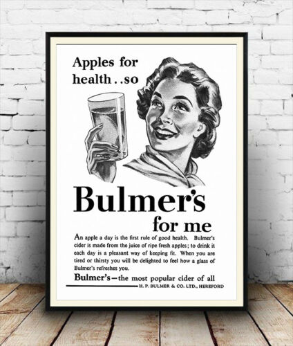 Vintage Cider advertising poster reproduction. Bulmers for me