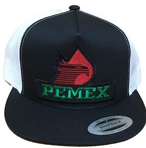 Image is loading PEMEX-MEXICO-HAT-MESH-TRUCKER-BLACK-WHITE-SNAP- ad83ed5cba1