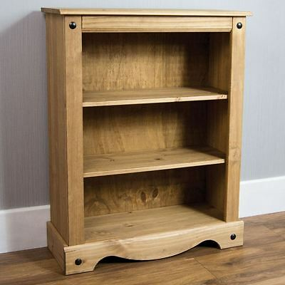 CORONA MEXICAN DISTRESSED WAXED PINE 2 SHELF SMALL LOW BOOKCASE NEW FREE P&P