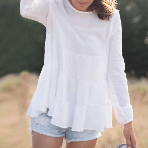 ZANZEA Women Casual Holiday Tops T-Shirt Puff Sleeve Loose Shirt Blouse Tee Plus