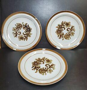 "Vintage Brown Monterrey Stoneware by MSI Japan 10.25"" Dinner Plates Set of 3 Lot"