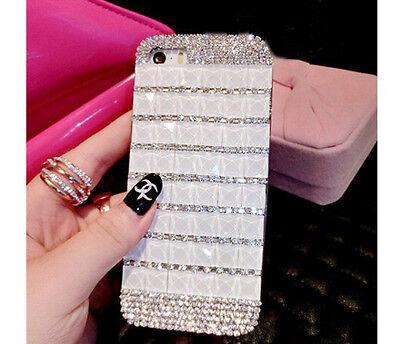 Luxury Handmade Bling Crystal Rhinestone Diamond White Case Cover for CellPhones