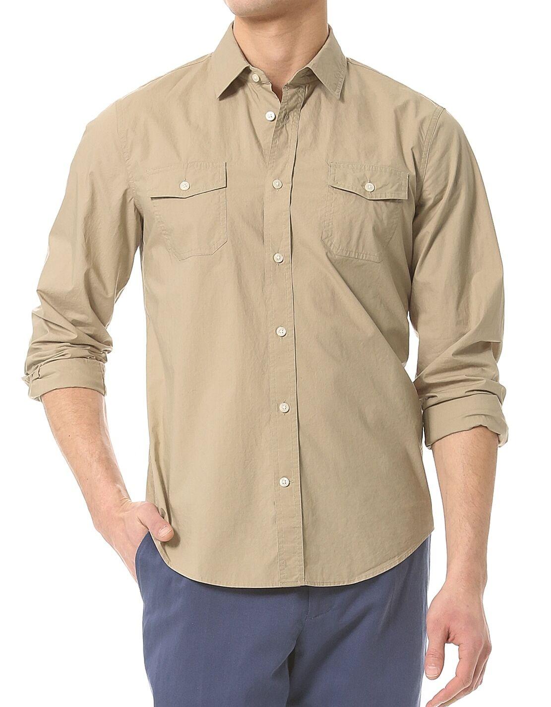 Nwt  VINCE Slim Fit Solid Parachute Sport Shirt Top Maple Beige S