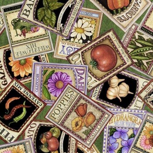 QT Fabrics A Gardening We Grow by Dan Morris 26497 G  Cotton Fabric