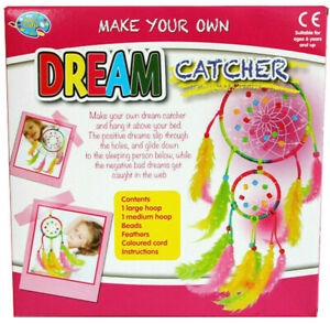 KIDS-MAKE-YOUR-OWN-DREAM-CATCHER-COLOURFUL-KIT-ACTIVITY-CRAFT-BIRTHDAY-GIFT
