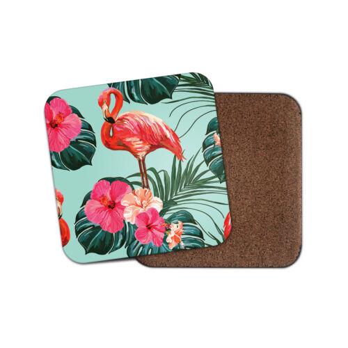 Rose Tropical Flamant boissons Coaster-Fleurs LOTUS Palmiers Fun Cadeau #8620
