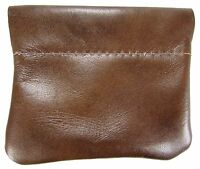 Leather Squeeze Coin Pouch Usa Made, Distressed Brown