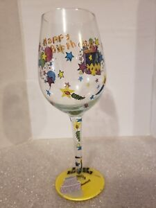Image Is Loading Happy Birthday Wine Glass Hand Painted