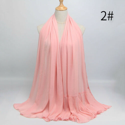 Ladies Ruffle Chiffon Wraps Shawl Scarf Islamic Muslim Hijab Decorative Scarves