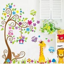 Foresta Gufi Giraffa Rotolo Albero Fiorito Adesivo Murale Vinile Bimbi Bambini
