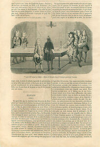 Louis-XIV-joue-au-Billard-Paris-d-039-Antoine-Trouvain-France-GRAVURE-OLD-PRINT-1865