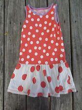 Mini Boden ~ Girls Polka Dot Ivory Orange Lavender Dress ~ Size 4-5Y