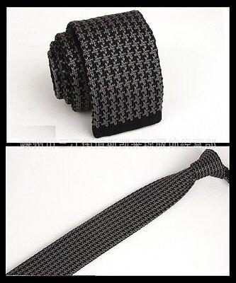 Men's Black Gray Pattern Tie Knit Knitted Necktie Narrow Skinny Woven ZZLD110
