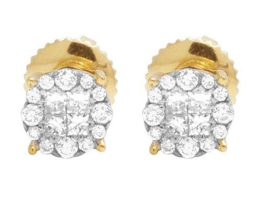 14K Or Jaune Véritable Diamant Princesse Quad Round Stud Boucle d/'oreille 2//5 ct 5.5 mm