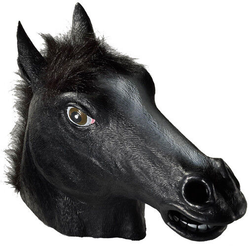 deluxe latex black horse mask creepy animal halloween costume prop rubber ebay