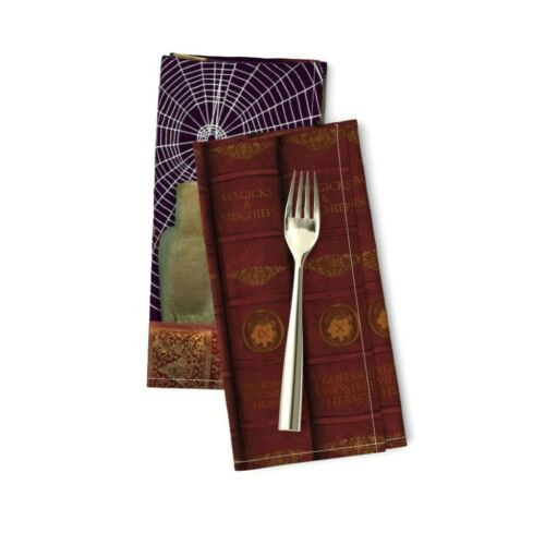 Magic Hand Drawn Illustration Wizard Cotton Dinner Napkins by Roostery Set of 2