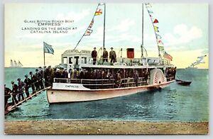 Catalina-Island-CA-Men-w-Boutonnieres-Leave-Glass-Bottom-Boat-034-Empress-034-c1910