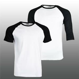 Mens-Summer-Plain-Baseball-T-Shirts-Raglan-3-4-Sleeve-Short-Sleeve-T-Shirt