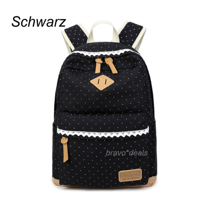 Damen Canvas Rucksack Schulrucksack Backpack Bags Schul Reisetasche schwarz