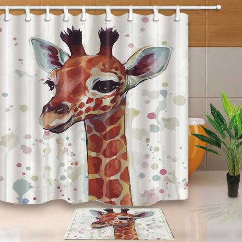 Watercolor Hand Painted Giraffe Animal Theme Shower Curtain Waterproof 71*71inch