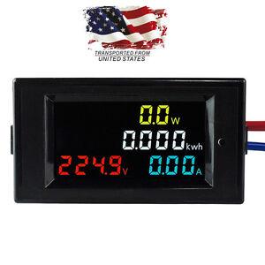 Aire-Acondicionado-80-300V-LCD-Digital-Panel-Pantalla-potencia-de-voltios-Amp-Combo-kWh-Meter-100A