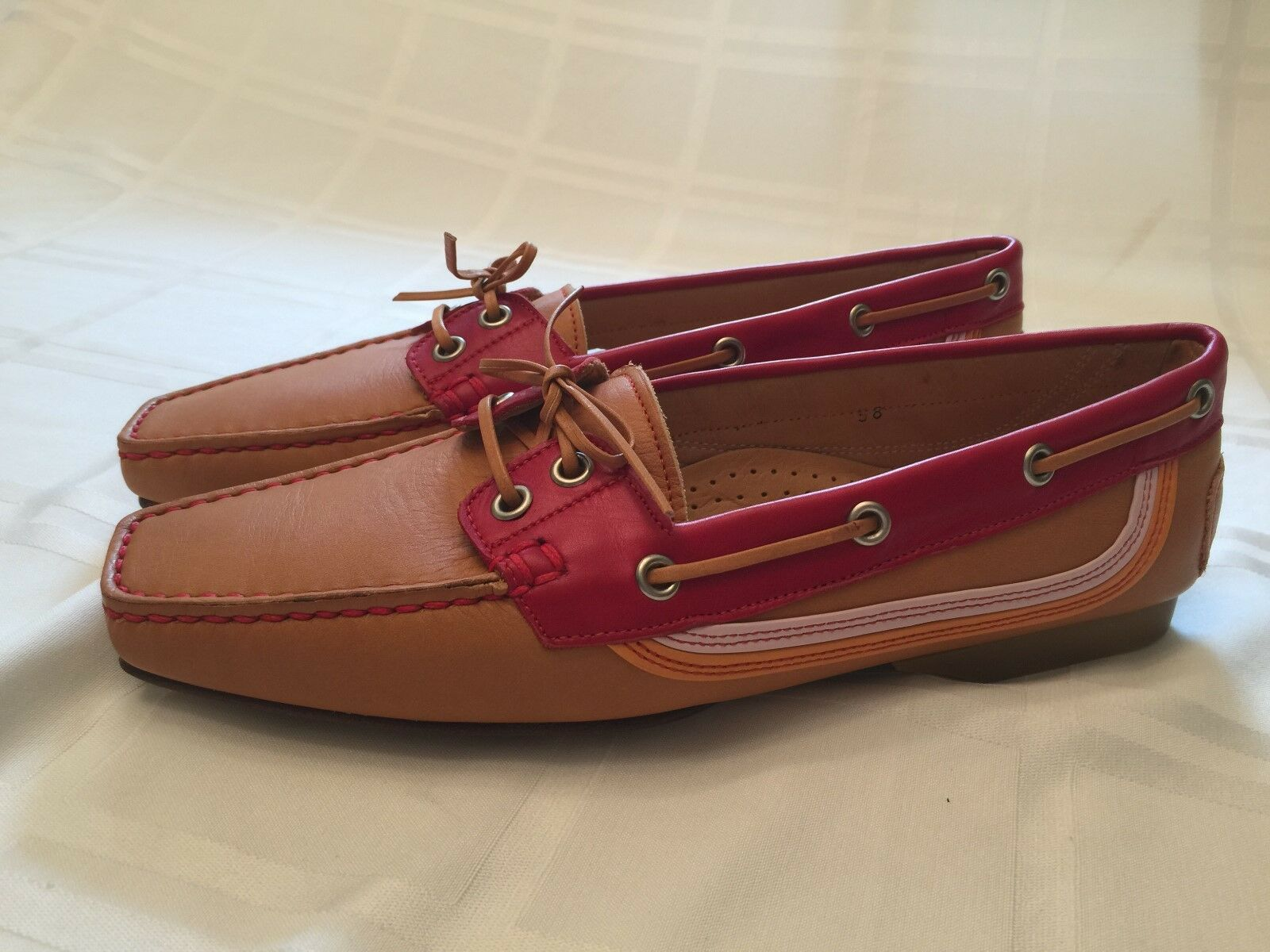 NEW Womens PRAERIE Italian Leather Moccasin shoes Red   Tan 38