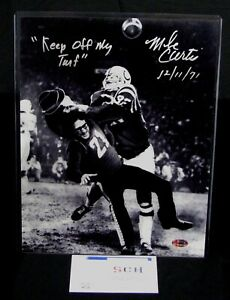 Mike-Curtis-Colts-Signed-11x14-Tackling-Fan-Photo-W-Keep-Off-My-Turf-SCH-Auth