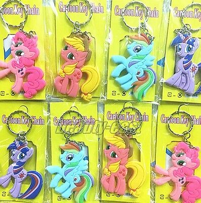 Lot My Little Pony rubber Key Chains Cartoon Metal Key Ring Party Gifts A258