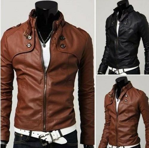 Cool Men Slim Fit Fashion Collar Synthetic Leather Jacket Casual Coats Brown
