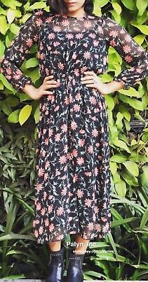NWT ZARA AW17 LONG FLORAL PRINTE DRESS WITH ELASTIC DETAILS 8377//435/_S M