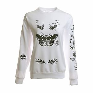 b867d7e4f212 Image is loading Harry-Styles-Tattoo-Sweatshirt-Sweater-Crew-Neck-White-