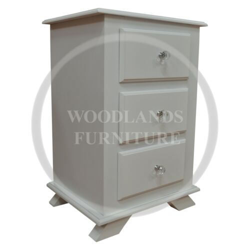 MANY COLOURS AVAILABLE ASSEMBLED HAND MADE CROWN 3 DRAWER BEDSIDE WHITE