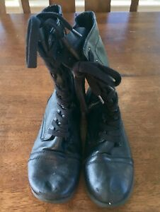 0fe12478902 Details about Steve Madden Troopa Black Leather Zip Lace Up Combat Boots  Womens Size 5.5 5 1/2