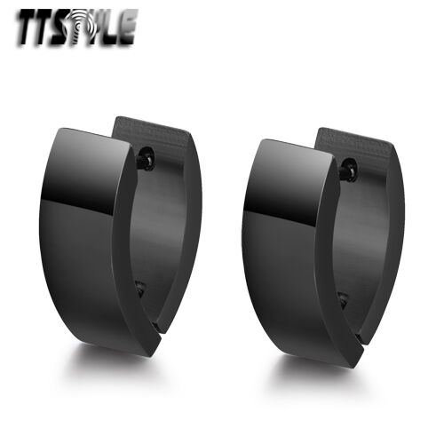 Ttstyle 7mm Width Black V Sharp S. Steel Large Hoop Earrings A Pair