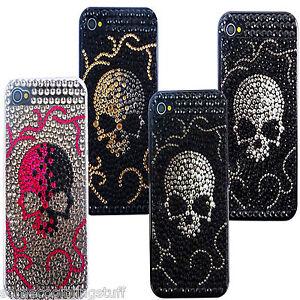 NEW-BLING-BLACK-SKULL-GOTH-DIAMANTE-PROTECTIVE-CASE-iPhone-5-5S-5C-4S-6-6s-7-8-X