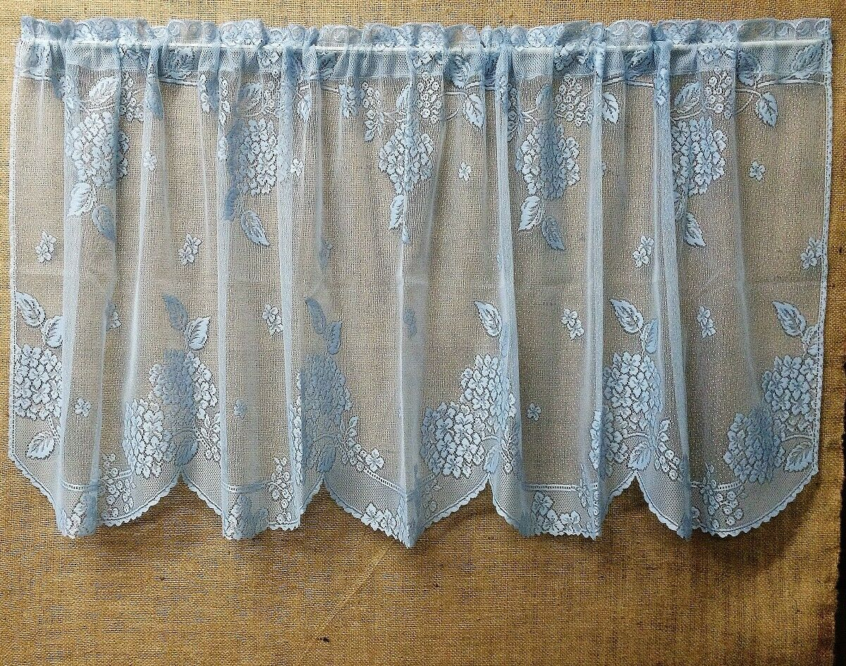 Curtains Blinds Lace Window Valance 16 And 24 30 36 Tiers Blue Hydrangea Kitchen Bedroom Home Furniture Diy Mhg Co Ke