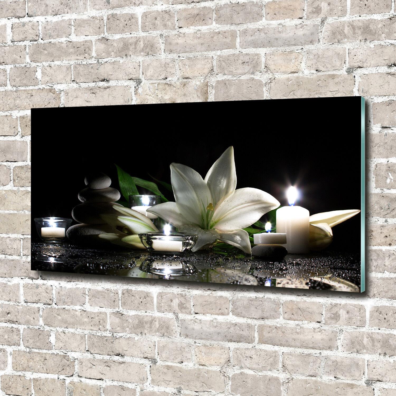 Glas-Bild Wandbilder Druck auf Glas 140x70 Deko Blaumen & Pflanzen Weiße Lilie