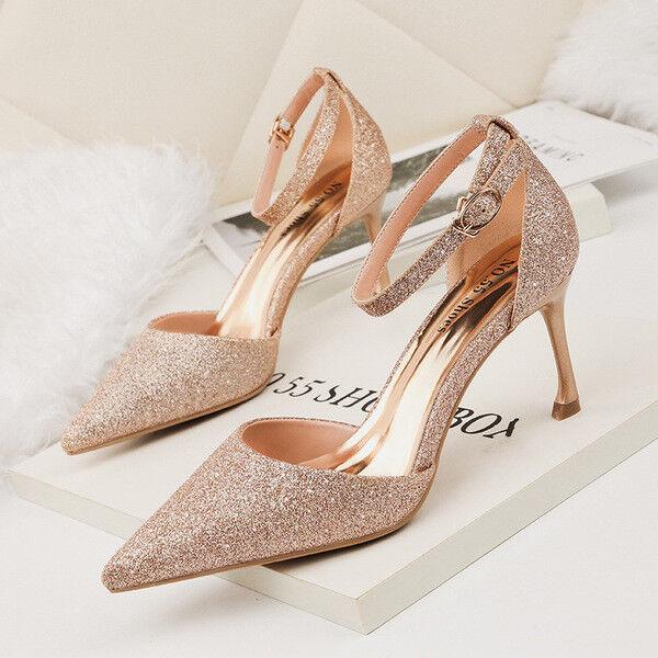 Schuhe Pumps Elegant Frau Stilett 8 cm Gold Strass Leder Kunststoff 1437
