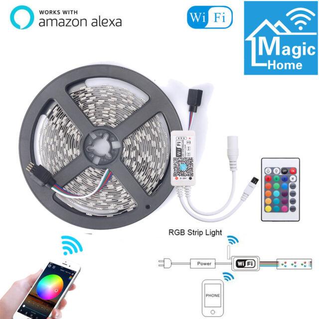 5m 300LED Flexible Smart WiFi RGB Strip Light for Alexa Amazon Google Home 12V