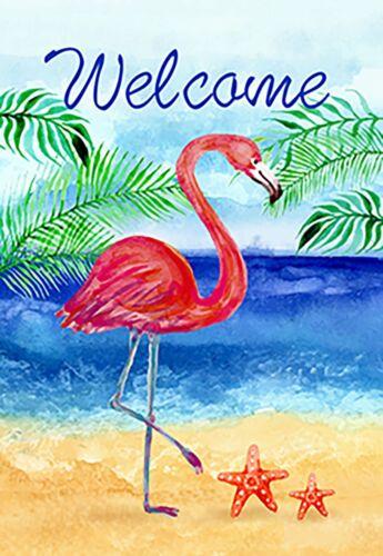 Morigins Flamingo Beach Summer Double Sided Welcome Tropical Palm Garden Flag
