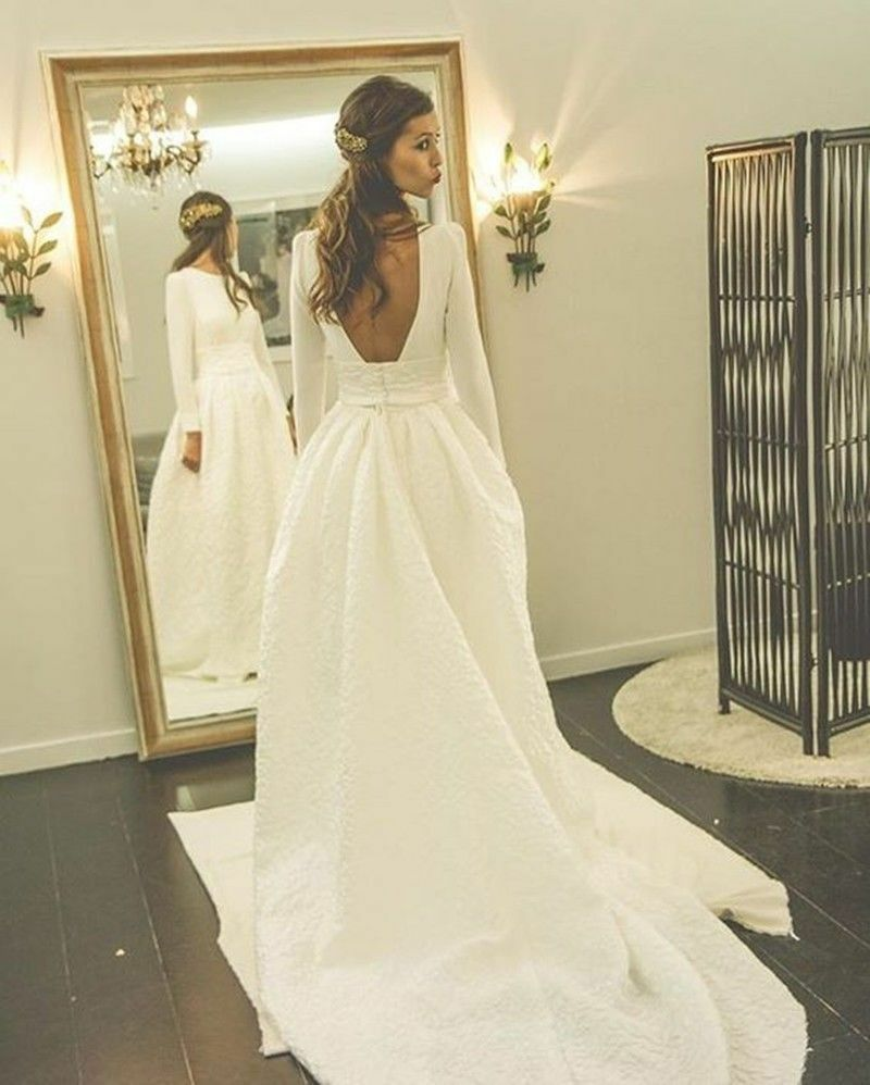 Wedding Dresses Jacquard Long Sleeves