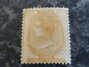 MALTA-POSTAGE-STAMP-SG7-ONE-HALF-PENNY-PERF-14-DULL-ORANGE-FINE-MOUNTED-MINT