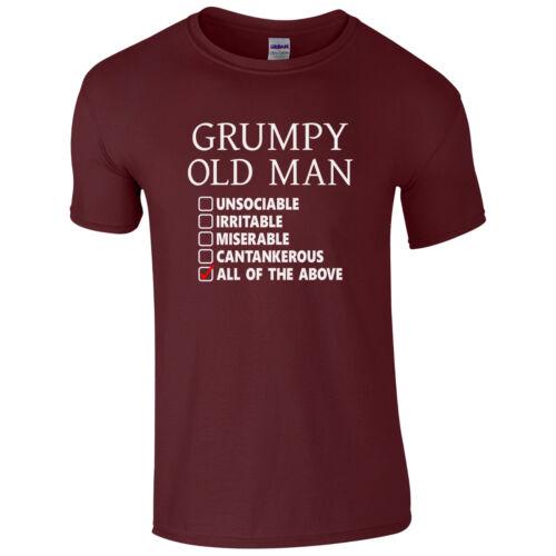 Funny Dad Grandad Fathers Day Joke Gift Top Grumpy Old Man Checklist T-Shirt